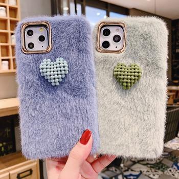 Пухен калъф с 3D елемент сърце Iphone 11 Pro Max в син,зелен и червен цвят