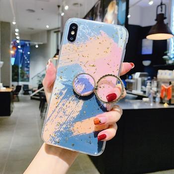 Цветен калъф + пръстен за Iphone X/XS в син и розов цвят