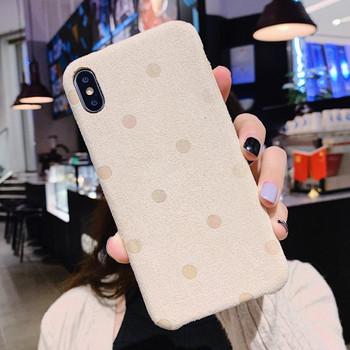 Плюшен твърд гръб на точки за Iphone X/XS