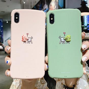 Калъф за Iphone X/XS с триизмерен малък динозавър в розов и зелен цвят - подходящ и за двойки