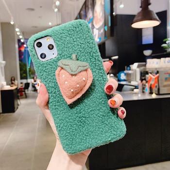 Плюшен калъф в 3D Ягода за Iphone 11 Pro Max в бял и зелен цвят
