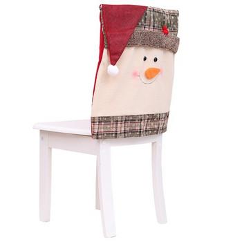 Коледен калъф за декорация на стол с 3D елементи в два модела - Дядо Коледа и снежен човек