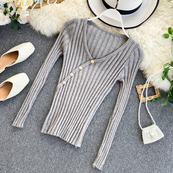 Модерна дамска блуза с шпиц деколте и копчета в пет цвята