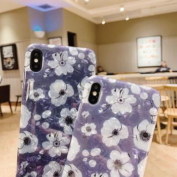 Лилав силиконов калъф с флорален десен за  Iphone  X/XS