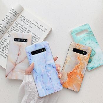 Силиконов калъф с мраморен ефект за Samsung s10 в няколко цвята