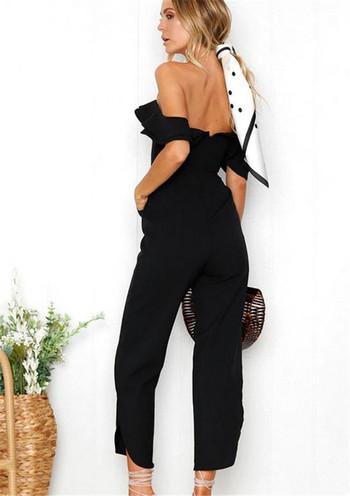 Стилен дамски гащеризон с шпиц деколте 9/10 дължина в черен цвят