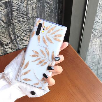 Прозрачен калъф с листа и ананаси в златист цвят за Samsung Note 10