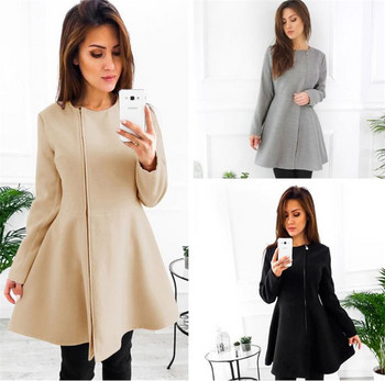 Дамско палто разкроен модел с цип в черен ,бежов и сив цвят