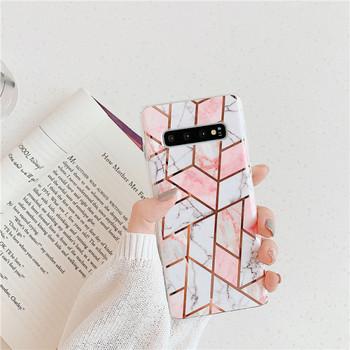Силиконов калъф с мраморен ефект в бял и розов цвят за Samsung S10