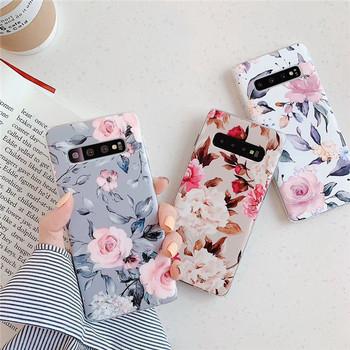 Силиконов калъф с флорален десен Samsung S10 в сив,бял и розов цвят