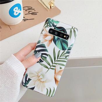 Калъф с флорален десен в розов и бежов цвят за Samsung S10