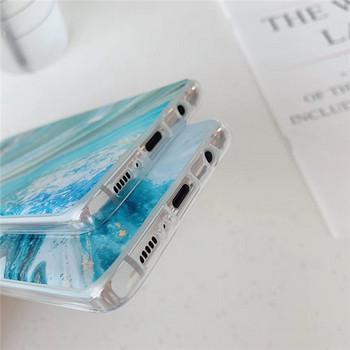 Калъф за Samsung S10 с мраморен ефект в син и зелен цвят