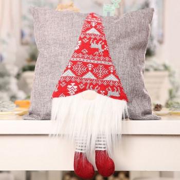 Χριστουγεννιάτικη διακοσμητική θήκη μαξιλαριού με 3D διακόσμηση σε κόκκινο και γκρι χρώμα