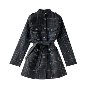 Модерно дамско палто с колан и копчета в син и черен цвят