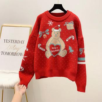 Дамски модерен пуловер с коледен мотив в червен цвят