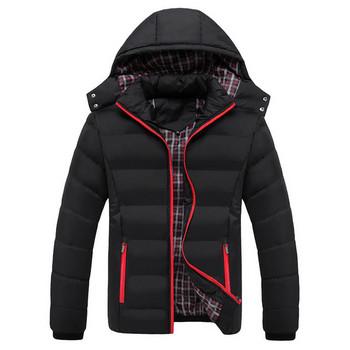 Зимно мъжко яке с качулка и дълъг ръкав в четири цвята