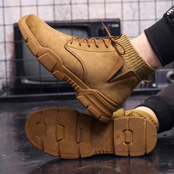Μοντέρνες χειμερινές ανδρικές μπότες σε οικολογικό σουέτ με κορδόνια σε τέσσερα χρώματα