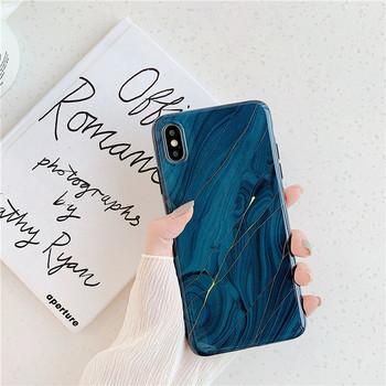 Калъф за Iphone XS Max с мраморен ефект в син цвят