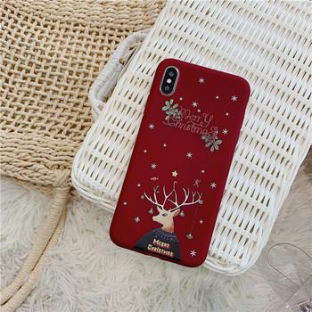 Коледен калъф с надпис Merry Christmas за Iphone X/XS в син и бордо цвят
