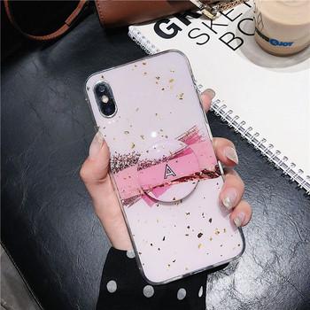 Силиконов калъф с лъскави частици + пръстен в розов цвят за  Iphone X/XS - два модела