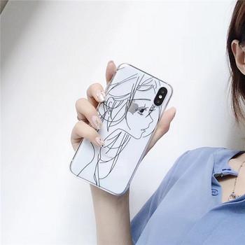 Прозрачен силиконов калъф с момиче в черен или бял цвят за  Iphone X/XS
