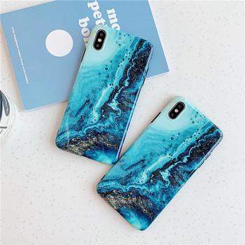 Калъф за  Iphone X/XS с мраморен ефект и лъскави частици  в син цвят