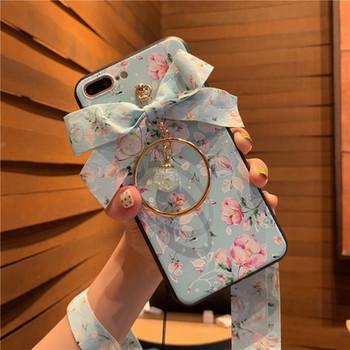 НОВ Модел калъф с флорален десен и панделка за Iphone 7 Plus / 8 Plus - два модела