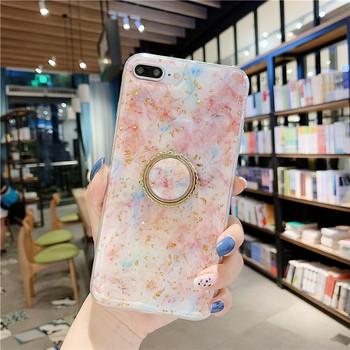 Силиконов калъф с лъскави златни частици +пръстен за Iphone 7 Plus / 8 Plus - два модела