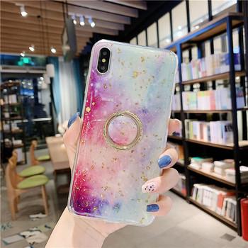 Цветен силиконов калъф с лъскави златни частици + пръстен за Iphone X/XS - два модела