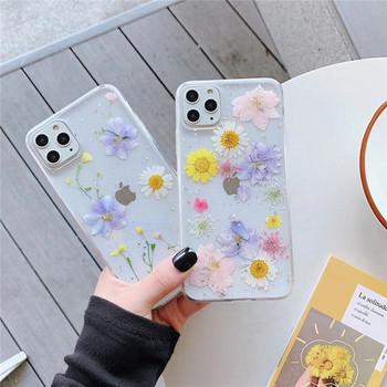 Силиконов калъф с цветя и лъскави частици за Iphone 11Pro Max - два модела