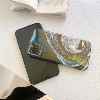 Калъф за Iphone 11 Pro Max с лъскави частици в зелен и розов цвят