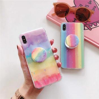 Многоцветен Rainbow калъф + пръстен за Iphone X/XS - два модела