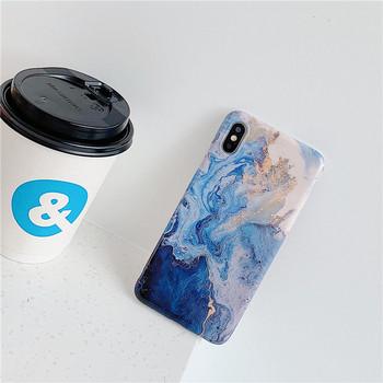 НОВ Калъф за Iphone X/XS в син цвят със златни частици