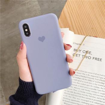 Едноцветен силиконов калъф със сърце на гърба за Iphone X/XS