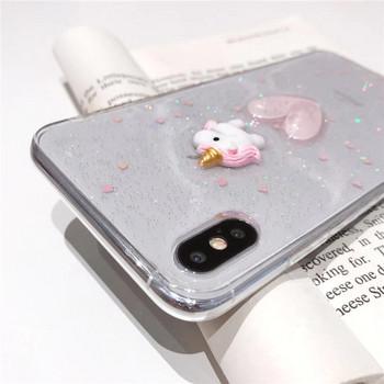 Силиконов калъф с лъскави частици и 3D елемент еднорог и сърце за Iphone X/XS