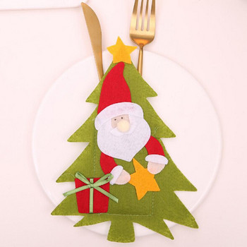 Коледен калъф за прибори във формата на елха с Дядо Коледа, снежен човек и елен