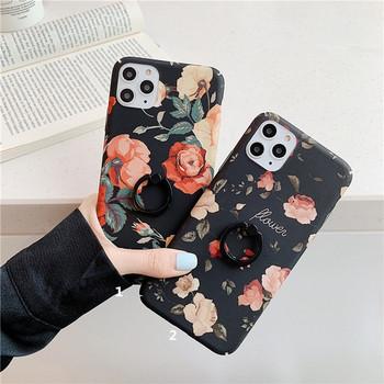 Твърд гръб с флорален десен + пръстен за  Iphone 11 Pro Max - два модела