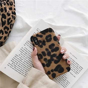 Плюшен твърд гръб с леопардов принт за Iphone X/XS