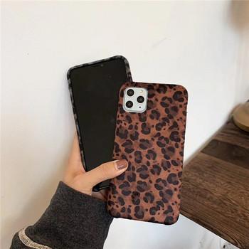 Плюшен калъф с леопардов принт за  Iphone 11 Pro Max в кафяв и сив цвят