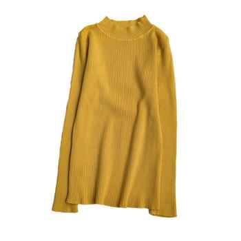 Дамска блуза в няколко цвята с висока яка и дълъг ръкав