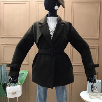 Модерно дамско палто с колан в черен,сив,кафяв и бежов цвят