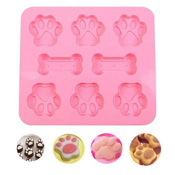 Удобна силиконова форма за печене в розов цвят - лапи и кокали