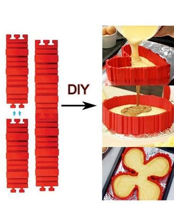 Комплект от 4 броя силиконови стени за правене на различни форми в червен цвят