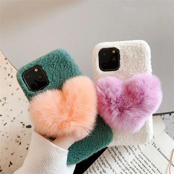 Плюшен калъф с 3D елемент сърце в зелен и бял цвят за Iphone 11 Pro Max