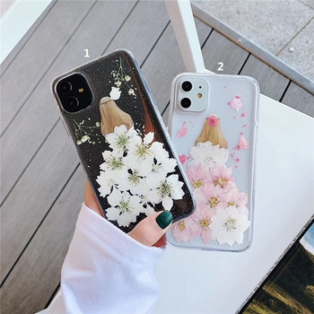 Силиконов калъф с флорален десен в бял и розов цвят за  Iphone 11