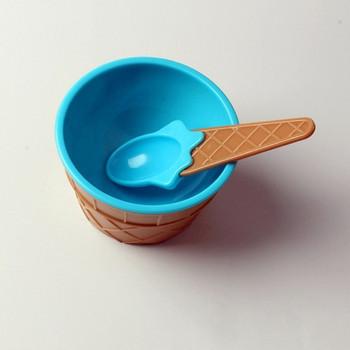 Комплект от 12 броя пластмасови купи за сладолед с лъжици в различни цветове