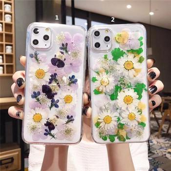 Калъф с флорален десен в зелен и лилав цвят за  Iphone 11 Pro Max