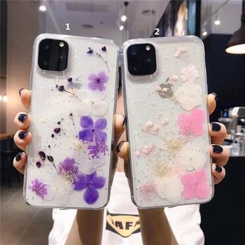 Силиконов калъф с флорален десен и лъскави частици в лилав и розов цвят за  Iphone 11 Pro Max