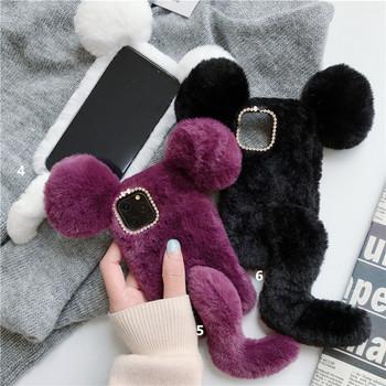 Пухен калъф с 3D елемент и камъни за  Iphone 11 Pro Max в лилав,бял и черен цвят