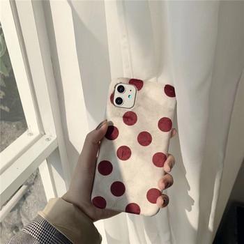 Твърд гръб за  Iphone 11 на точки в бежов цвят